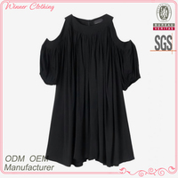 Ladies super rounded collar shoulderless top chiffon blouse
