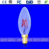 anqique light bulb, led filament candle bulb C35 2W E17 with UL certificates