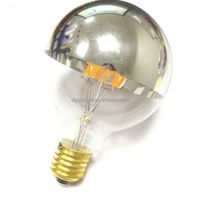 low energy saving G25/G80 led filament half chrome mirror sivertip dimmable 4W E26 decorative lamp Edison