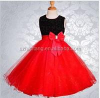 Scoop Flower Girl Wedding Pageant Dress Party Formal Black Red Kid Flower Girl Dress