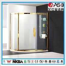 five star hotel golden safe 8mm Tempered Glass pivot shower bath