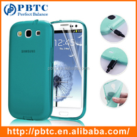 Set Screen Protector And Case For Samsung Galaxy S3 I9300 , Lake Blue Silicone Mobilephone Case