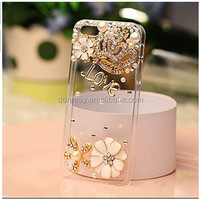 Rhinestone bling crystal pearl flower Crown Diamond clear transparent back cover luxury phone case for iphone 6