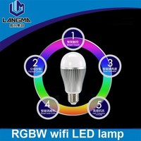 Langma New Wireless E27 9W RGBW LED Mi Light Lamp Bulb 2.4G Wifi Remote Control Brightness Dimmer for iPhone 5S/iPad IOS Android