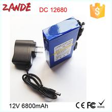 Portable regargeable DC output DC-12680 6800mAh recharge 12v li-ion battery in storage batteries