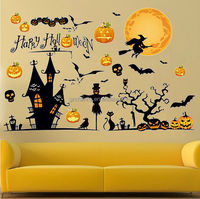 Halloween Wall Sticker Decal Powwow Bats Design Mural Decor Room Paper 60X90cm