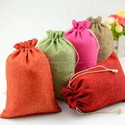 Factory Custom Small Drawstring jute bags for storage