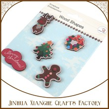 wholesale popular 5pcs painted Chiristmas wood shapes, printed Christams wooden crafts