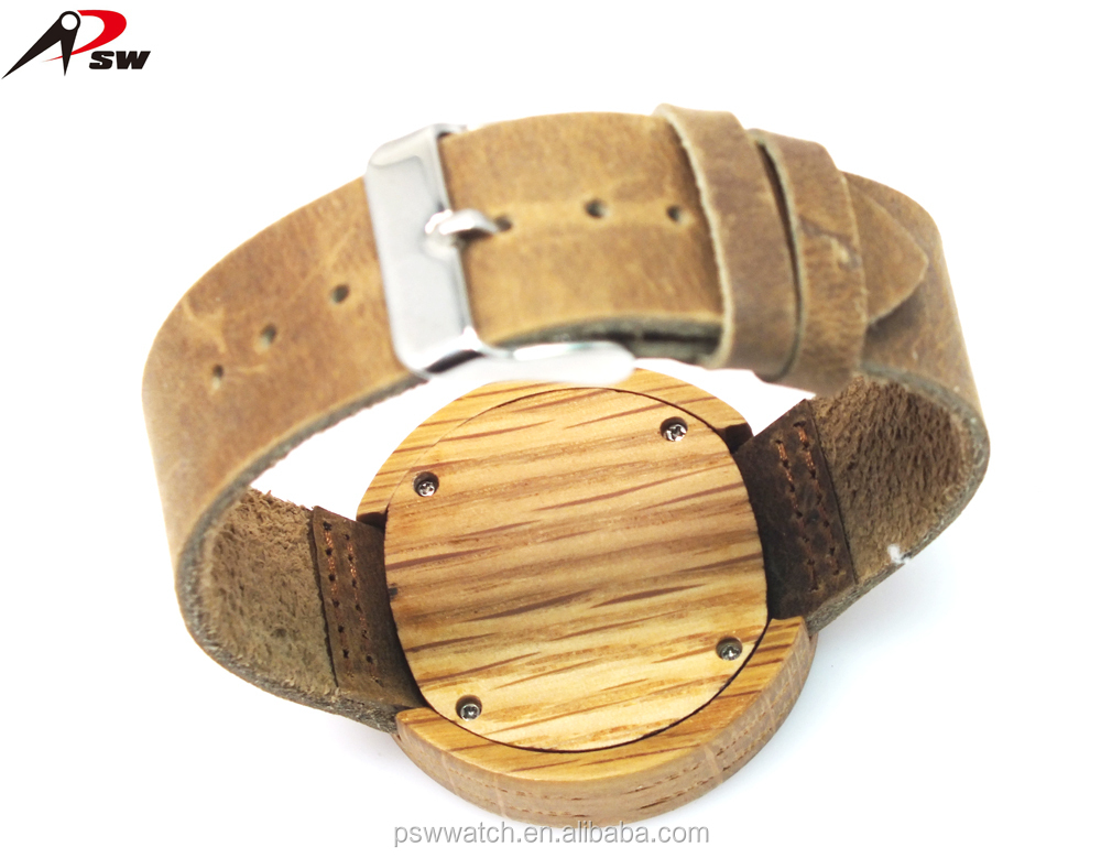 Genuine leather bamboo watches custom watches for men and women