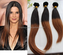top quality ombre tone color human hair extensions machine weft