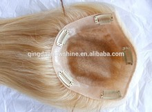 Silky straight blonde women toupee no tangle brazilian remy hair toupee