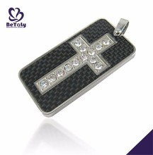 Shiny crucifix design channel fashion jewelry necklace with cz