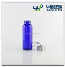 200ml custom blue unbreakable glass water drinking bottle with screw lid wholesale
