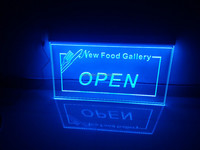aluminium base acrylic led edge lit open sign, led illuminated open sign board