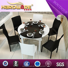 Hot selling glass top with MDF extensionable for wood folding dining table