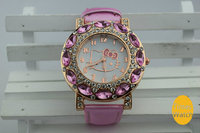 Hello kitty cat face royal diamond watch gift sets for girls
