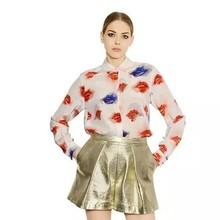 Wholesale korean apparel womens semi formal tops and blouses print kiss in western design