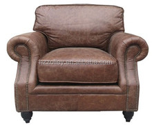 American style real leather luxury high wing back hotel room waiting room sofa chairs