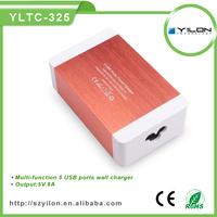UK/USA/AU/EU power cable 5v 8a 5 port usb wall charger