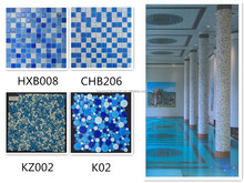 H2016 Blue Crystal Glass Mosaic Backsplash Cheap Tile Swimming Pool Tile