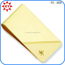 Gold brush slim mens wallets with money clip