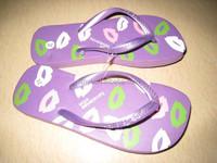 popular wholesale youth lipprint 2014 fasion cute girl nude beach slippers