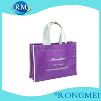 Purple die cutting handle side and bottom gussets non woven shopping bag