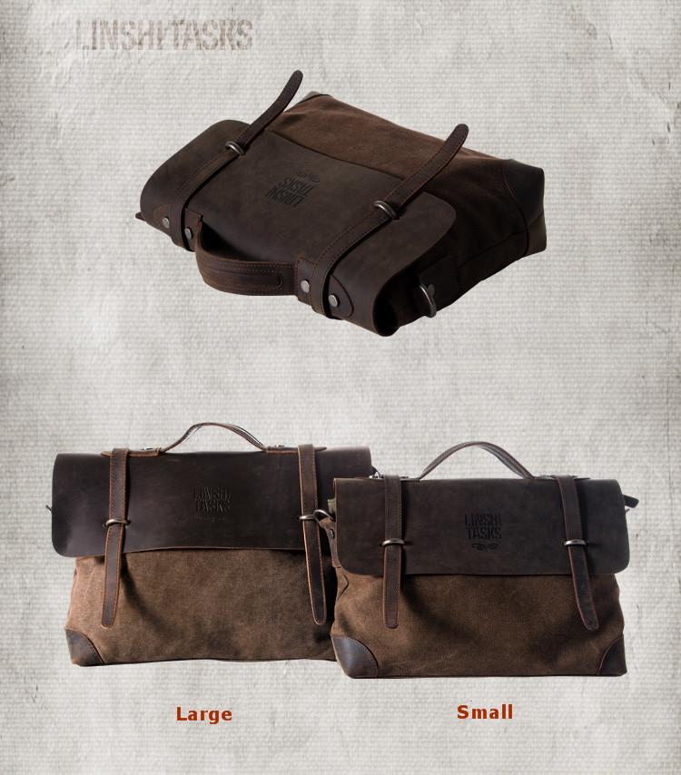Chic Vintage Canvas Leather Men's Crossbody Bag Shoulder Messenger