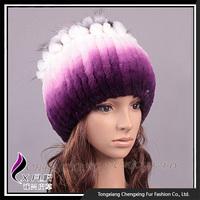 CX-C-115M Good quality 100% Real Purple Knitted Rex Rabbit Fur Hat
