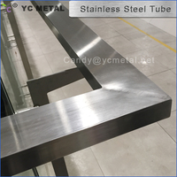 304 Satin Rectangle Glass Railing Welded Stainless Steel Pipes