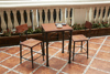 2015 China cast iron industrial solid wood cafe table chair set