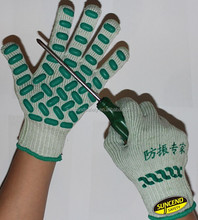 Anti-vibration 7G T/C shell palm latex foam dots coated labour gloves