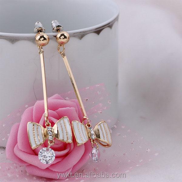 fashion alloy drop earrings latest charm earring enamel zircon diamond dangler earrings