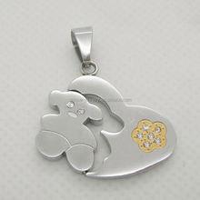 Popular necklace key chain dangle animal charm rhinestone bear pendants