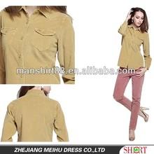 2015 women 's 100% algodão grosso corduroy blusa com bolsos duplos