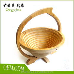 Environmental protection round bamboo fruit basket made by older bamboo