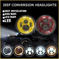 7 Inch Round LED Headlight 12v 24v 45W Hi-Low Beam for Jeep Wrangler Toyota Harley