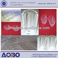 round bottom small size clear quartz boat or Transparent quartz glass boat with circle handle,quartz manufacturers
