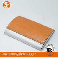 PU leather+stainless steel fashion temperament high-grade business card case for man and women