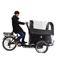 CE Denmark bakfiets family 3 wheel cargo bike with rain cover for transporting