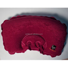 cute red special design flocking travel pillow,portable inflatable pvc neck pillow