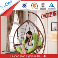 Top quality garden rattan furniture adult single seat swing