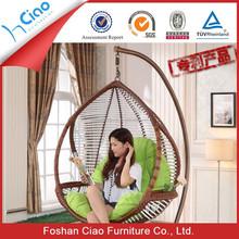 Top quality garden rattan furniture adult single seat swing