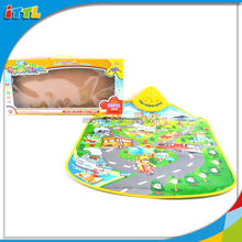 2014 New item education toy funny baby play carpet with music small city paradise cheap baby play mat