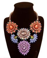 best selling multi color crystal flower necklace