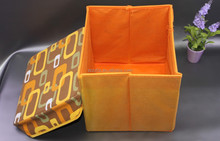 custom print orange Storage Boxes for sale /decorative wooden Storage Bin as home furniture/storage box with soft lid