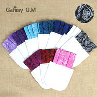 Custom Designs Cardboard Pocket Squares 100% Polyester Jacquard Men Hanky for Business Party