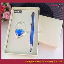 2015 Hot sales Promotional Gift Swarouski Crystal Touch Ball Pen And Heart Shape Folding Women's Bag Decorative Hanger