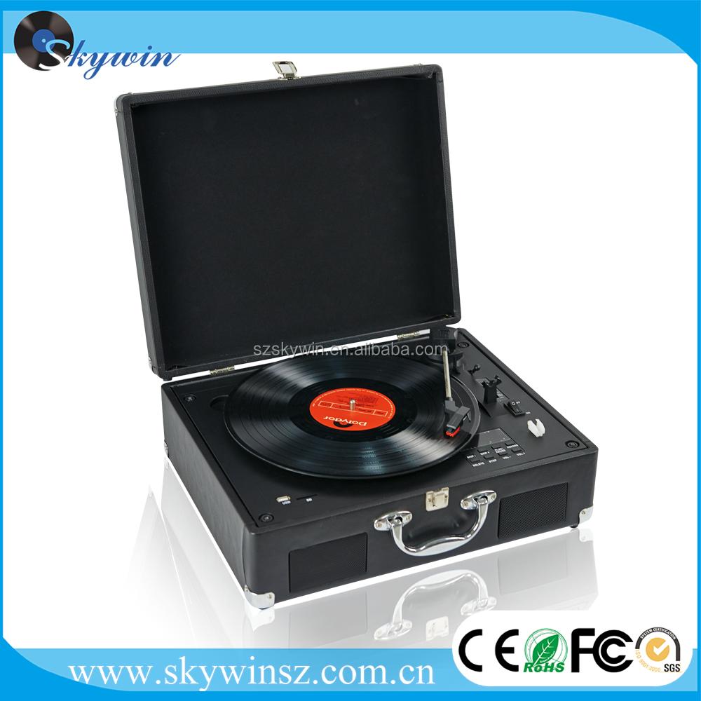 Rétro 3-vitesse Professionnel Platine Vinyle Tourne-disque avec Construit dans la Gamme Complète haut-parleurs