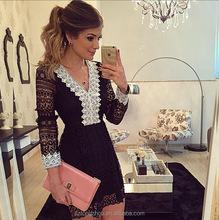 New women summer dress new fashion women lace dress Chiffon dress black long sleeve vestidos
